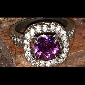 Silver ring with cz and amethyst stone